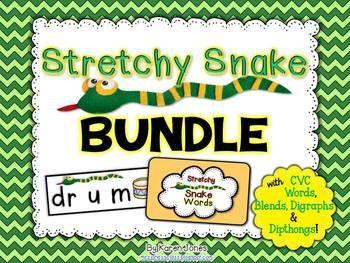 STRETCHY SNAKE WORDS: THE BUNDLE! {CVC WORDS, BLENDS, DIGRAPHS, AND DIPTHONGS} - TeachersPayTeachers.com