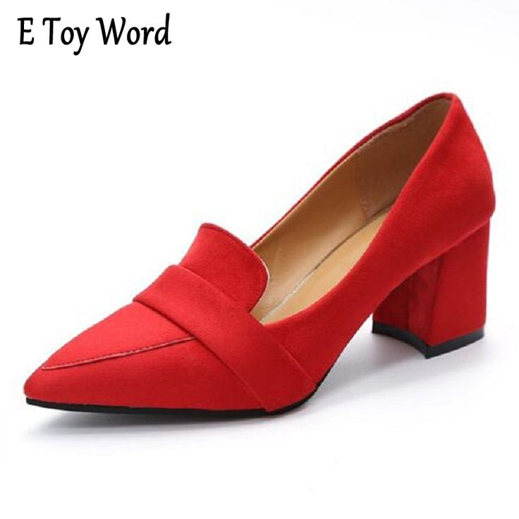EToyWord Elegant Women's Pumps Pointed Toe Dress Wedding Shoes Woman High Square Heels Shoes for Woman #Affiliate