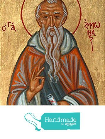 St Ammonas hand-painted byzantine icon of the Desert Saint sacred art Fathers of the Church from Angelicon https://www.amazon.com/dp/B01N01JH82/ref=hnd_sw_r_pi_dp_OTQpybX229ERR #handmadeatamazon