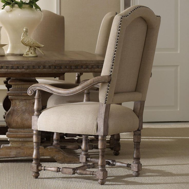 Sorella Upholstered Dining Arm Chair With Scrolled Armrests Turned Stretcher And Nailhead Trim By Hooker Furniture At Stoney Creek