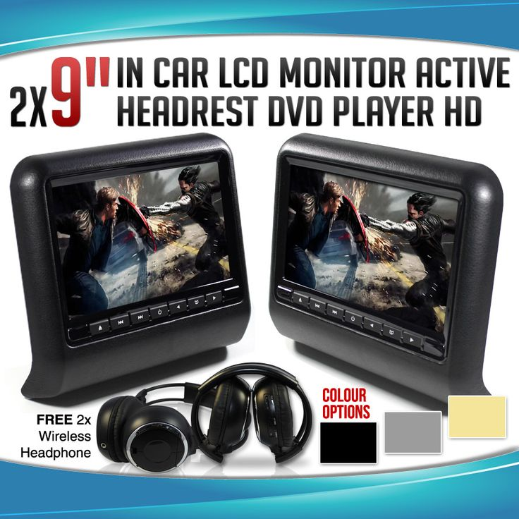"""2x 9"""" In car LCD Monitor Active Headrest DVD Player Game HD Screen Divx USB SD"""