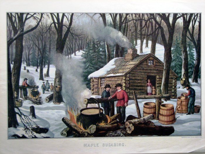 Maple Sugaring by Currier & Ives. It won't be long before the Maple Syrup Festival in LaGrange, Indiana.