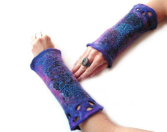 Felted cuffs felted mittens nuno felted cuffs purple pink blue