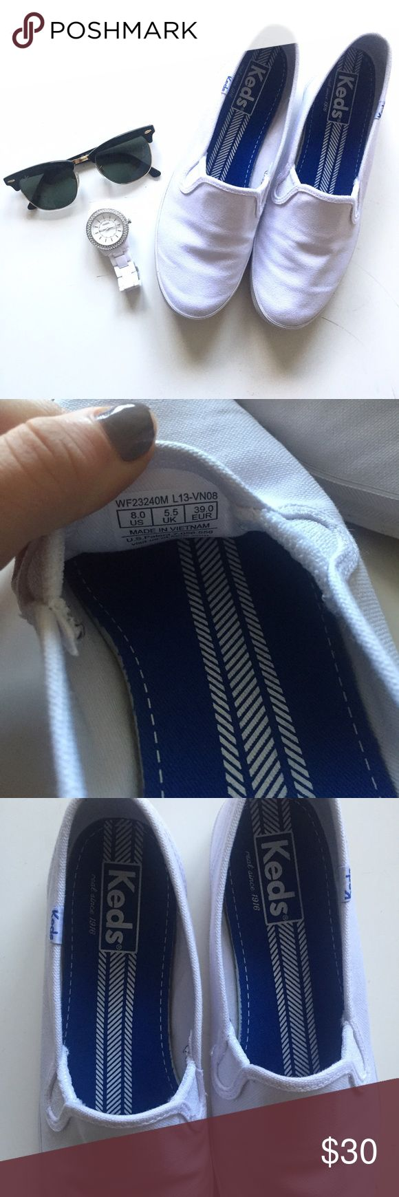 White Keds Champion-Canvas Slip On Size 8 slip on white keds. They have been worn once inside all day and there is not a mark on either shoe. Basically new! Keds Shoes