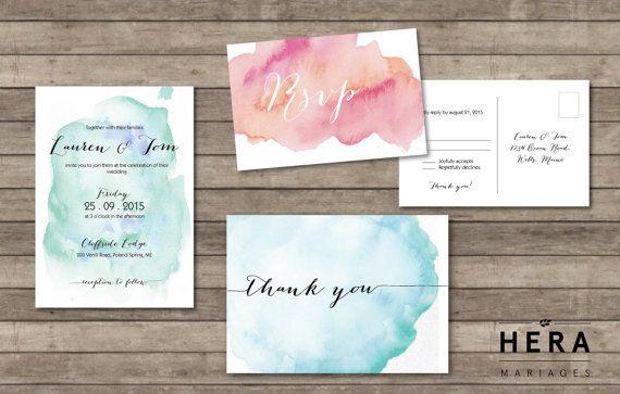 Printable Wedding Invitation Set | wedding Invitation + RSVP Card + Thank you card | watercolor collection | Ocean