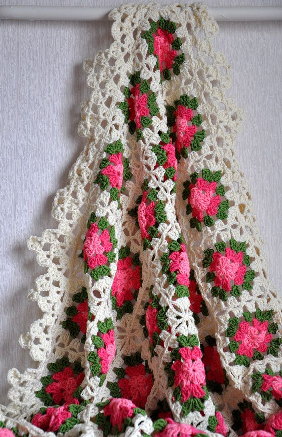 Blanket - Hand Crocheted in Cream Pink and Green Colors -  Granny Square Afghan dreamt fresht teamspirit. $87.00, via Etsy.