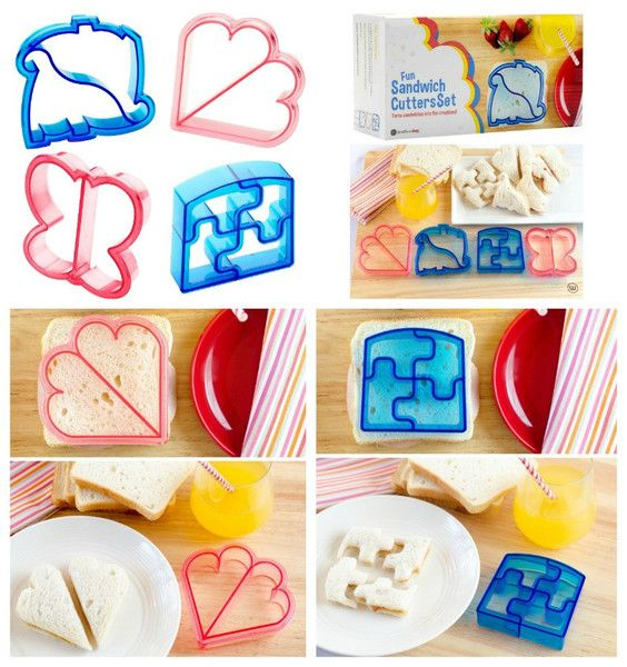 Set of 4 Kids Themed Shapes Sandwich Cutters