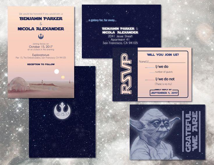 Star Wars Wedding Invitation Set - Custom Digital Invitations - Geeky Weddings by AwkwardAffections on Etsy