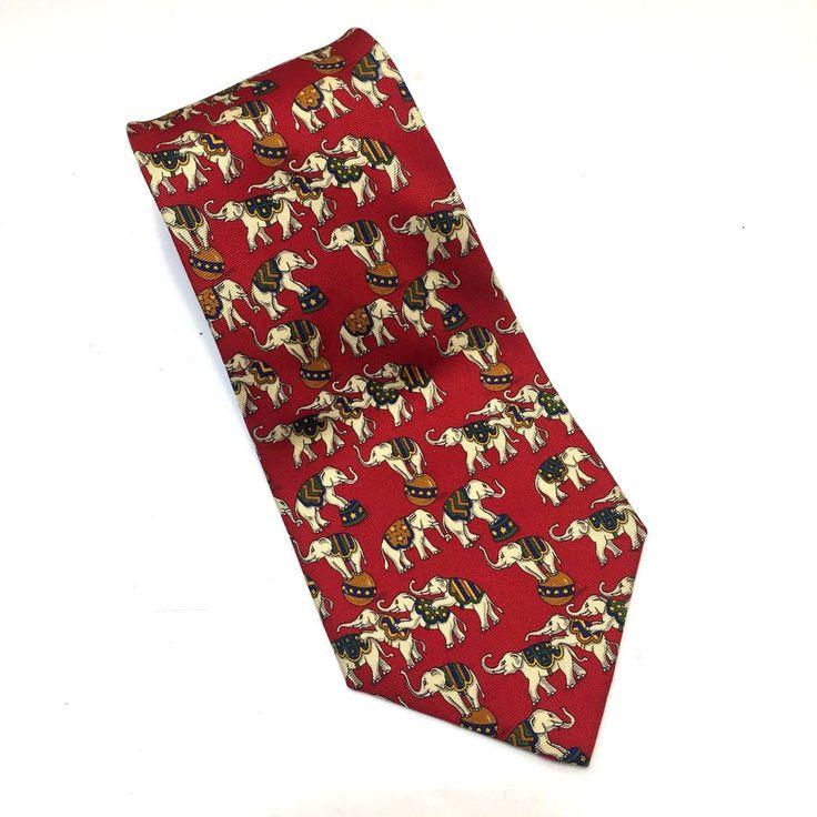 Paul Fredrick Silk Mens Novelty Red Neck Tie with Circus Elephants #PaulFredrick #Tie