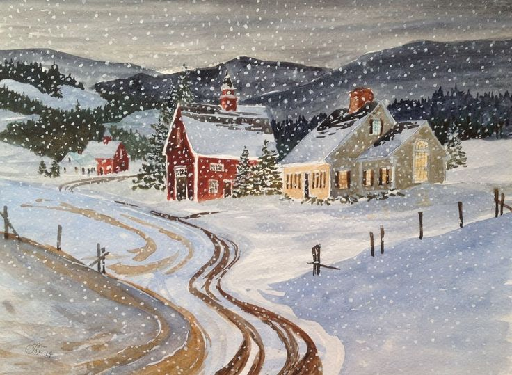 Snow Scene Vermont NEW ENGLAND-COUNTRY ROAD-BARN-New Watercolor Tom C