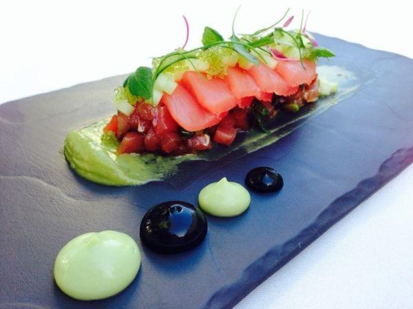... tomatoes avocado ahi poke salmon avocado mousse fish seared tuna ink