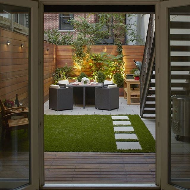 We designed this backyard in a Turtle Bay townhouse. It's perfect for beating the heat.