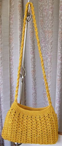 Golden yellow crochet purse - there is a link to the free pattern and a link to the tutorial on making the braided handle