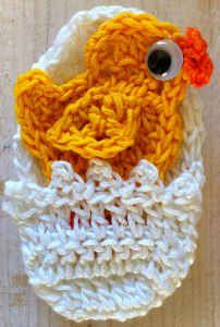 Crochet chick and egg applique free pattern easter