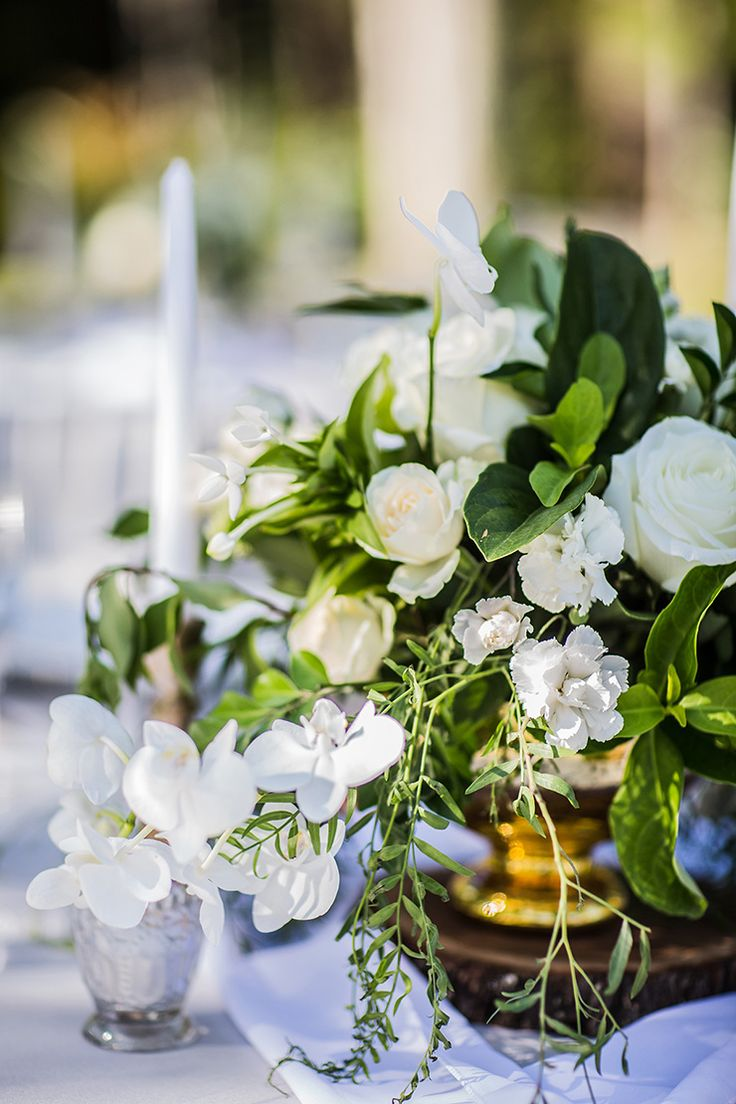 Green and white garden wedding centrepiece with roses and orchids in a gold vase on wood round | Lee Calleja Thomas Photography