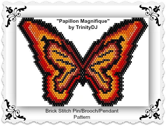 BP-AN-045 Papillon Magnifique Brick stitch Pendant by TrinityDJ