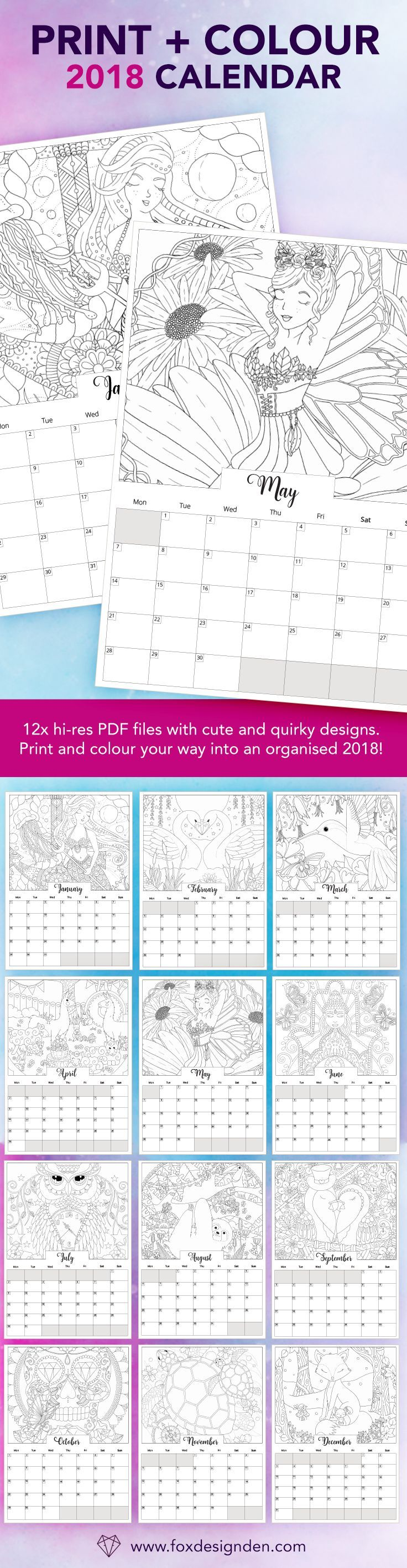 Here are 12 of my favourite coloring page designs in a printable calendar format. This is definitely suited to the creatives out there that want to color their way into an organised 2018! Perfect for printing and putting on a clipboard around the house, i