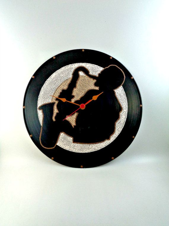 Sax Vinyl Clock Jazz Hand Painted Brown Beige by InsaneDotting