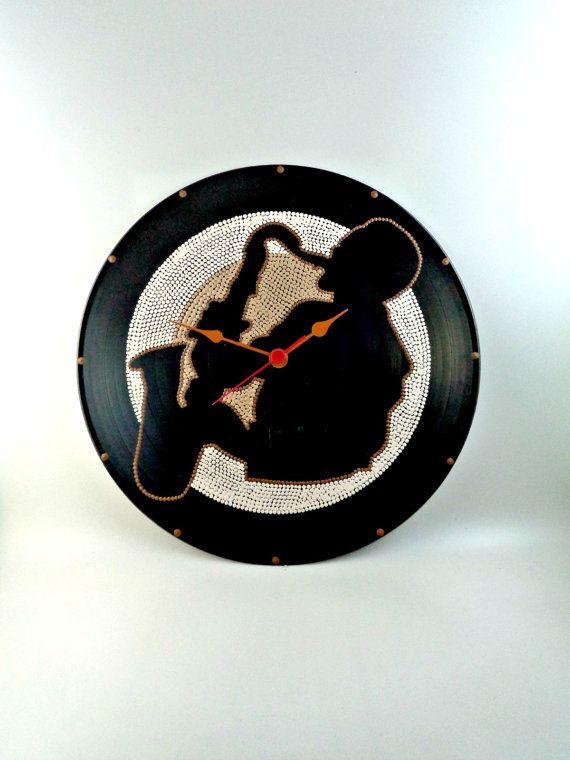Sax Vinyl Clock Jazz Hand Painted Brown Beige by InsaneDotting