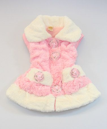 Look what I found on #zulily! Pink & White Faux Fur Rosette Vest - Toddler by Mia Belle Baby #zulilyfinds