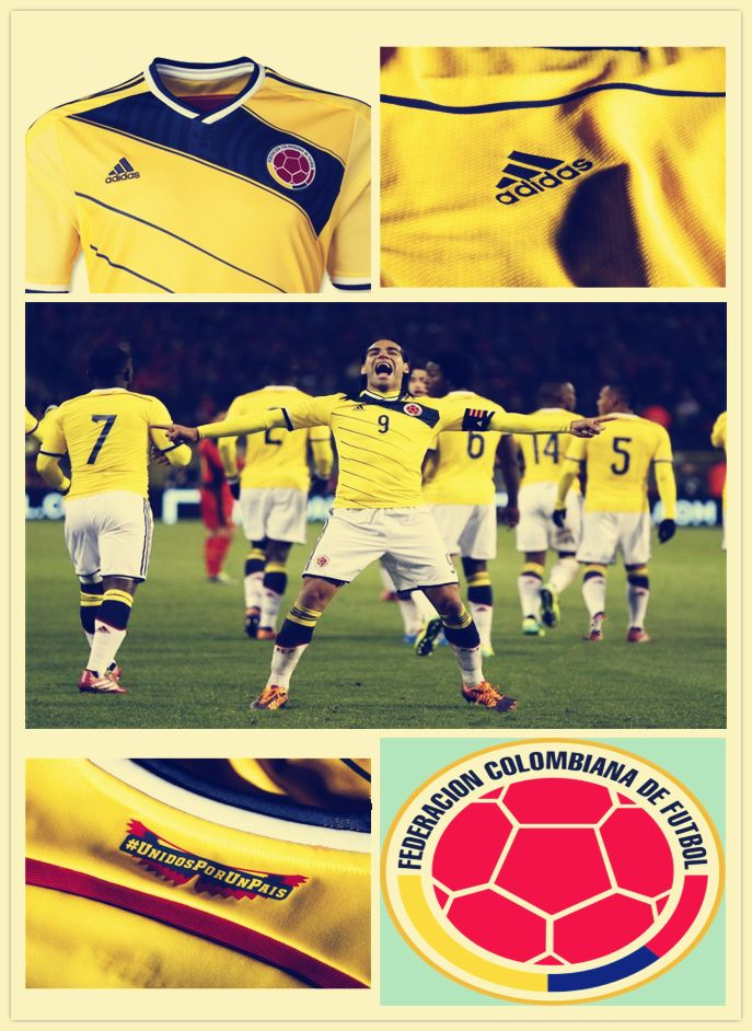 #Colombia2014WorldCupHomeSoccerJersey sale here: http://brazilsworldcupshirts.co.uk/
