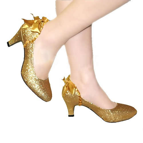 Gold pu leather comfortable bridal shoe wedding evening for Gold dress shoes for wedding