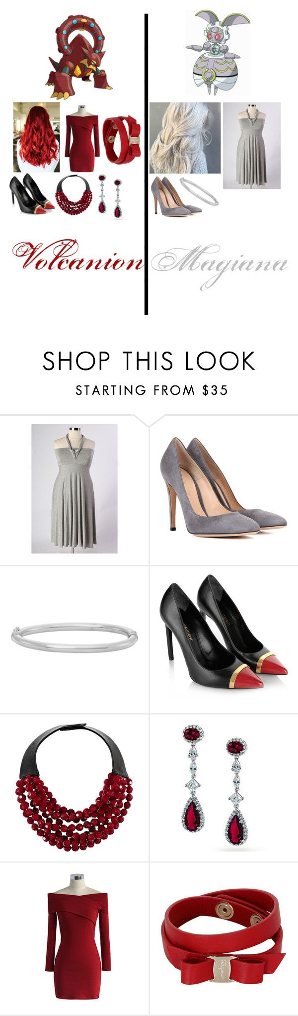 """""""Pokemon - Volcanion and Magiana"""" by queen-taylor-brie ❤ liked on Polyvore featuring Gianvito Rossi, Yves Saint Laurent, Fairchild Baldwin, Bling Jewelry, Chicwish and Salvatore Ferragamo"""