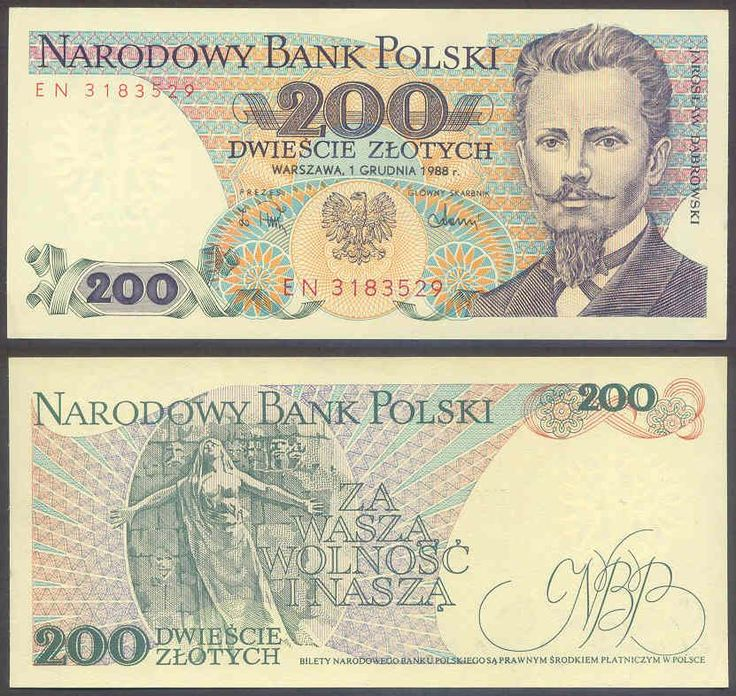 1974 series Polish 200-złoty banknote, featuring Jarosław Dąbrowski on the obverse side, and the Paris Commune Monument to the Dead on the reverse side.