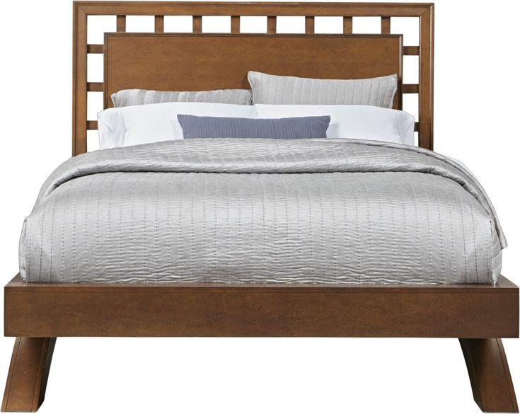 Belcourt Cherry 3 Pc Queen Platform Bed With Lattice Headboard Queen Platform Bed King Platform Bed Queen Size Platform Bed