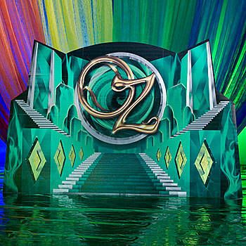 The Emerald City Stairway Background has the look of a staircase leading the way to the Oz.
