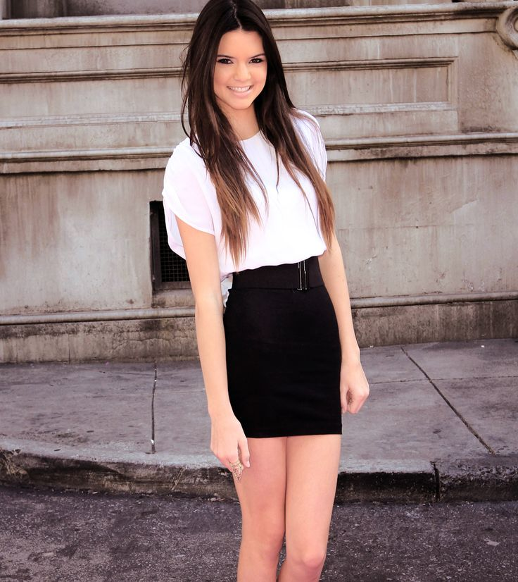 Pretty pencil skirt and a casual white blouse completes ...