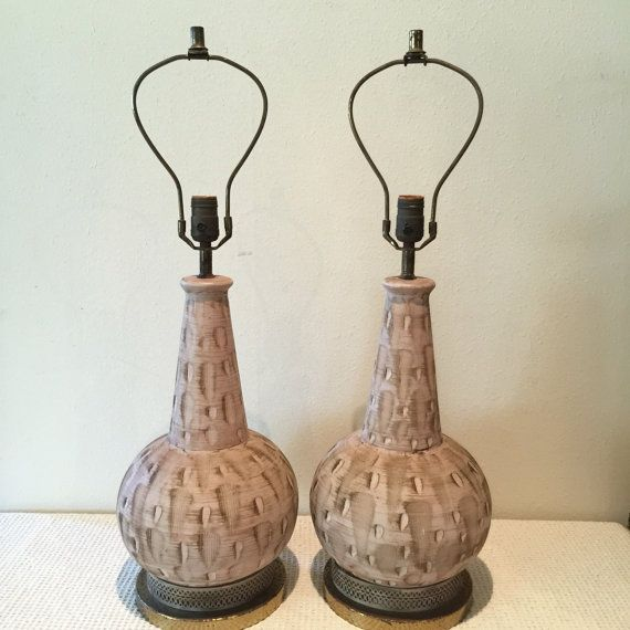 Vintage Table Lamps - Mid Century Lighting - Midcentury Lamp Set of 2 - Living Room Table Lamps - Bedside Lamps - Ceramic Neutral Colors