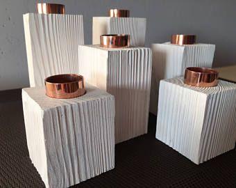 Kaars houder, 6 kandelaars houder, een set van 6 handgemaakte houten Kaarsenbakjes, bruiloft serviesje, rustieke tafel decor