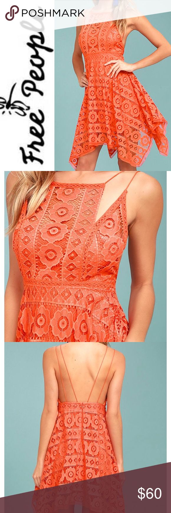 NWT Free People Just Like Honey Orange Dress Brand new with the tags perfect condition adorable on hugs in all the right places, orange salmon color Free People Dresses Midi