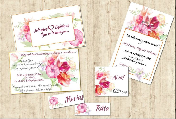 Pink watercolour wedding stationery