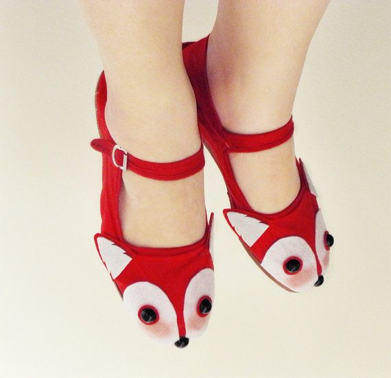 Red Fox Shoes  Fox Face Mary Janes  Ladies Size 10 by emandsprout, $28.00