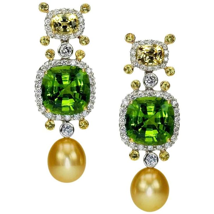 Samuel Getz Peridot, Sappihre Golden South Sea Pearl Dia Gold Platinum Earrings
