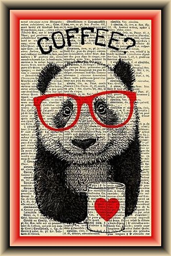 Panda with Red Glasses Drinking Coffee