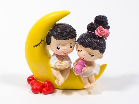 Up On the Moon Couple Figurine Cute Couple by DreameryGifts