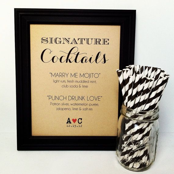 Signature Drink Sign Wedding Cocktail Bar by PurplePeonyCouture, $10.00 with straws!