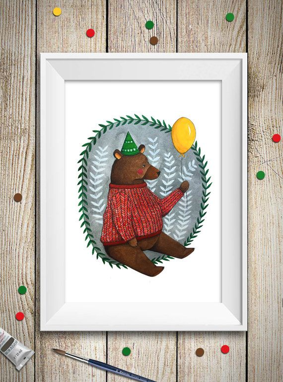 A bear print of my watercolor illustration, perfect as kids room art or home decor.