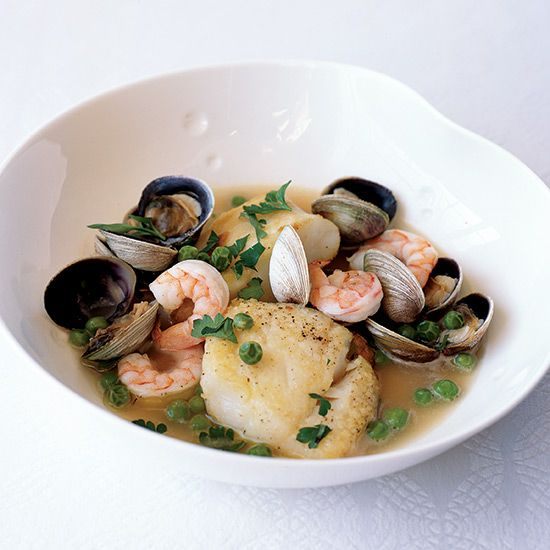 Cod with Basque Wine Sauce | A fast and simple fish dish from from Spanish cookbook author Janet Mendel.