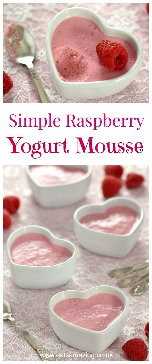 4 ingredient healthier raspberry mousse made with yogurt and gelatine - this recipe is so easy and a perfect dessert for the kids this Valentines day