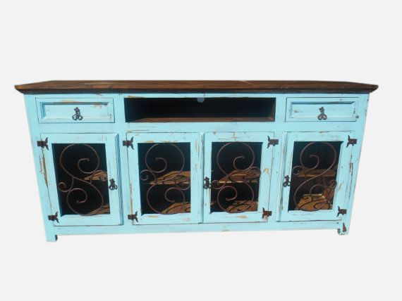 80 inch hi end turquoise tv stand with metal by TEXASHARDWOODS