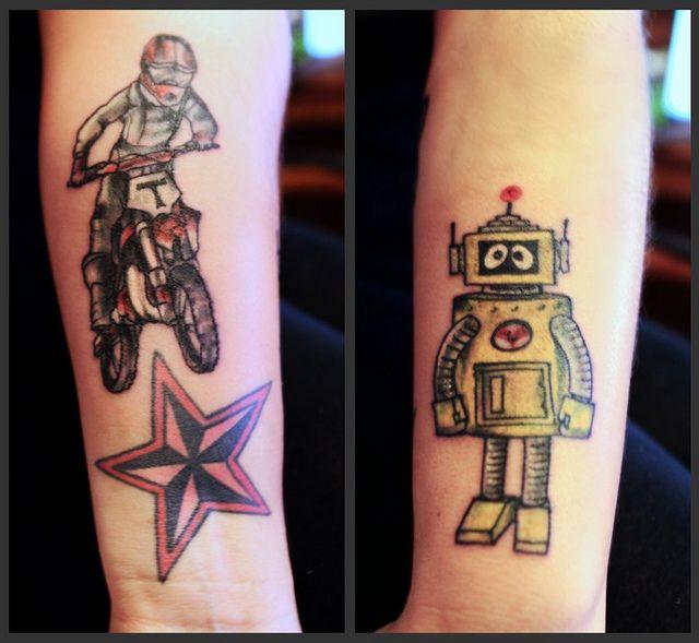 bike nautical star robot tattoo ideas - http://tattoosaddict.com/bike-nautical-star-robot-tattoo-ideas.html #bike, ideas, nautical, robot, star, star tattoo, tattoo
