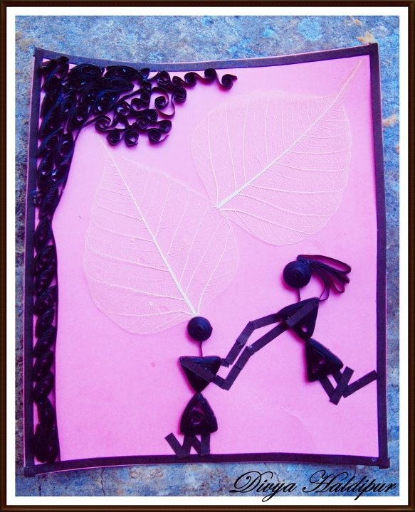 Paper Quilled Warli Art - depicting love............