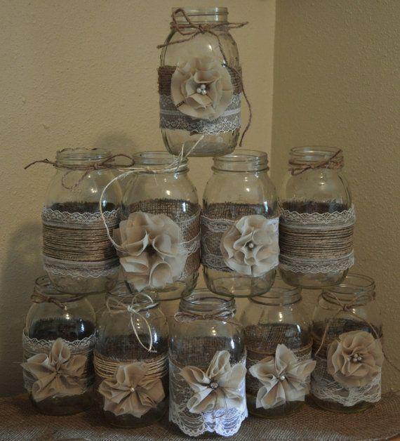 Lot de 10 pot Mason manches décorations de mariage de toile