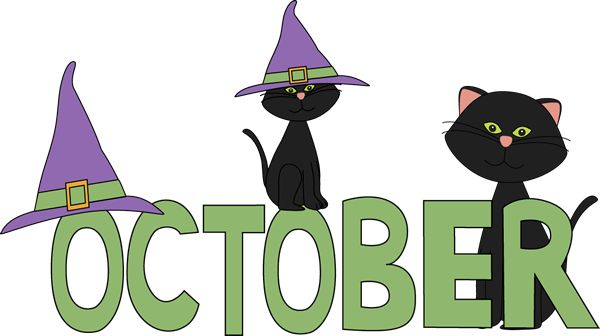 October Black Cats Clip Art - October Black Cats Image