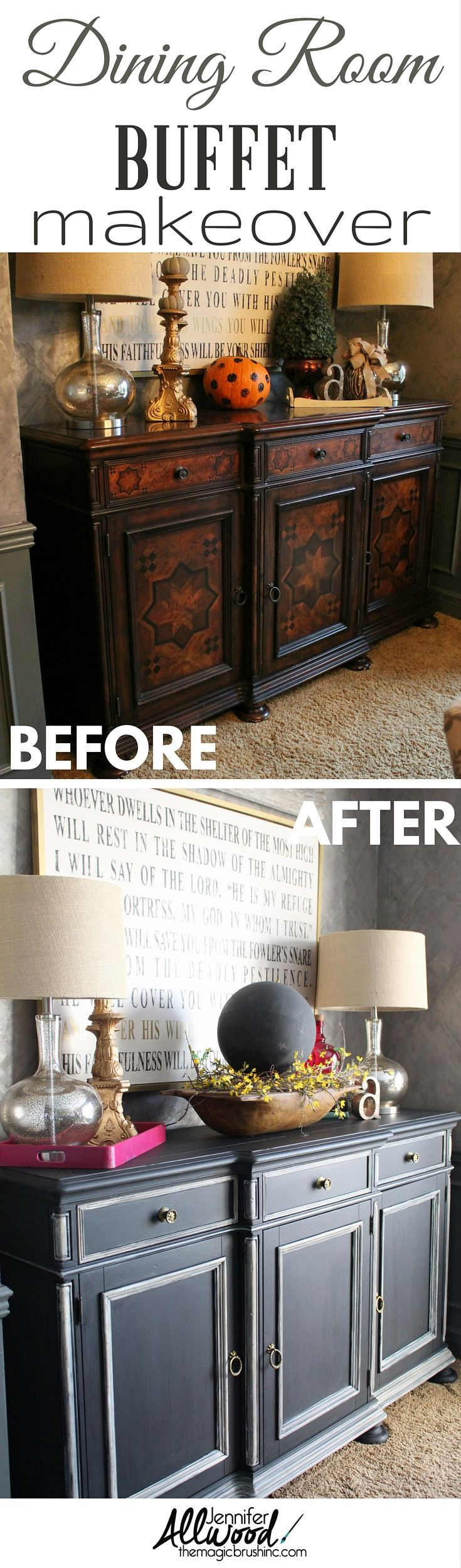 My Dining Room Buffet Makeover turned out fabulous! I know a few of my fans doubted me ruining a wood piece, but this new black bean finish with French vanilla details is just gorgeous! It transformed from dated old world to a modern look! Furniture painting Tips, DIY Videos and more at theMagicBrushinc.com