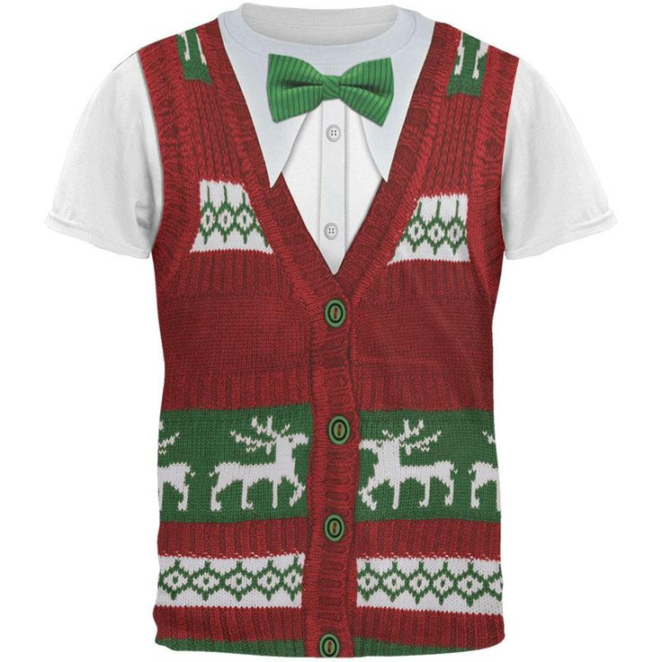 Ugly Christmas Sweater Vest Costume All Over Adult T-Shirt